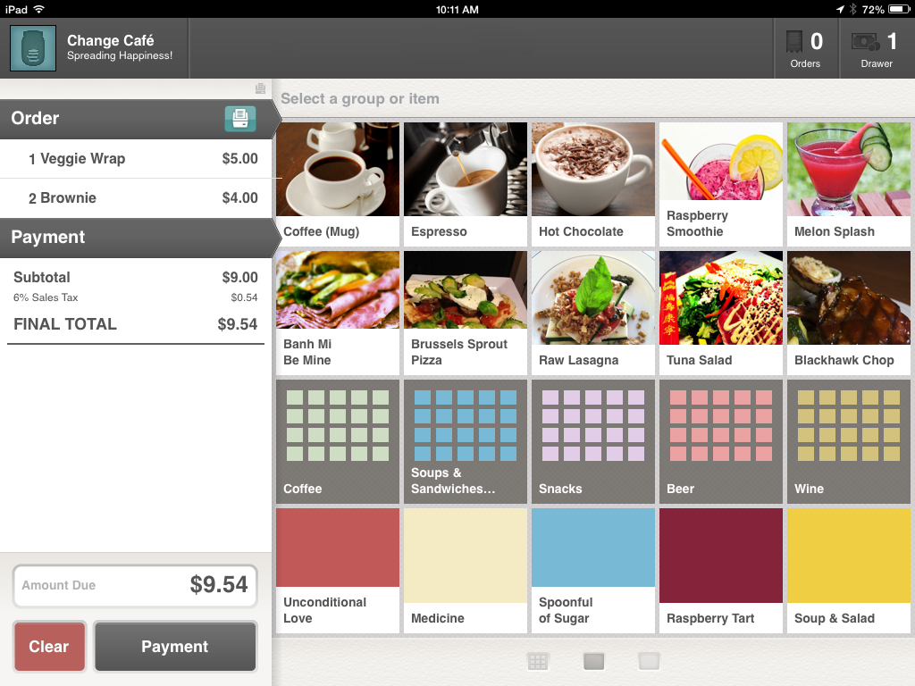 Change App iPad point of sale system