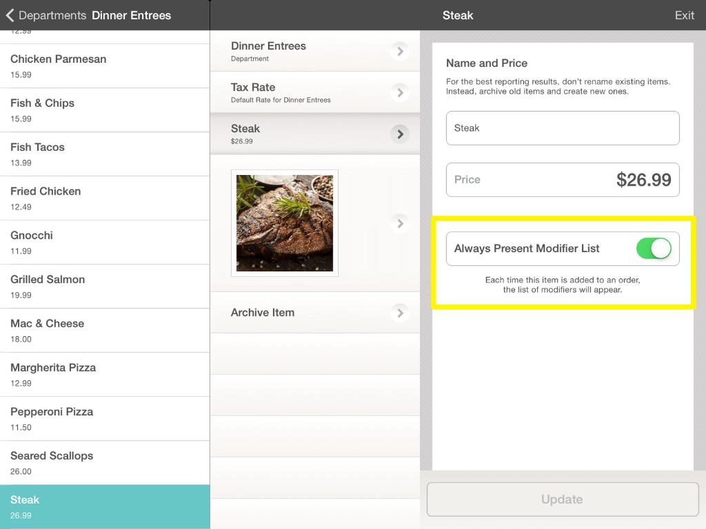 Always Present Modifier List Options