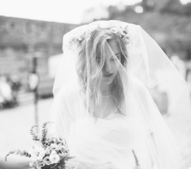 Chloe, floral crown, bouquet and veil, all Custom Collection