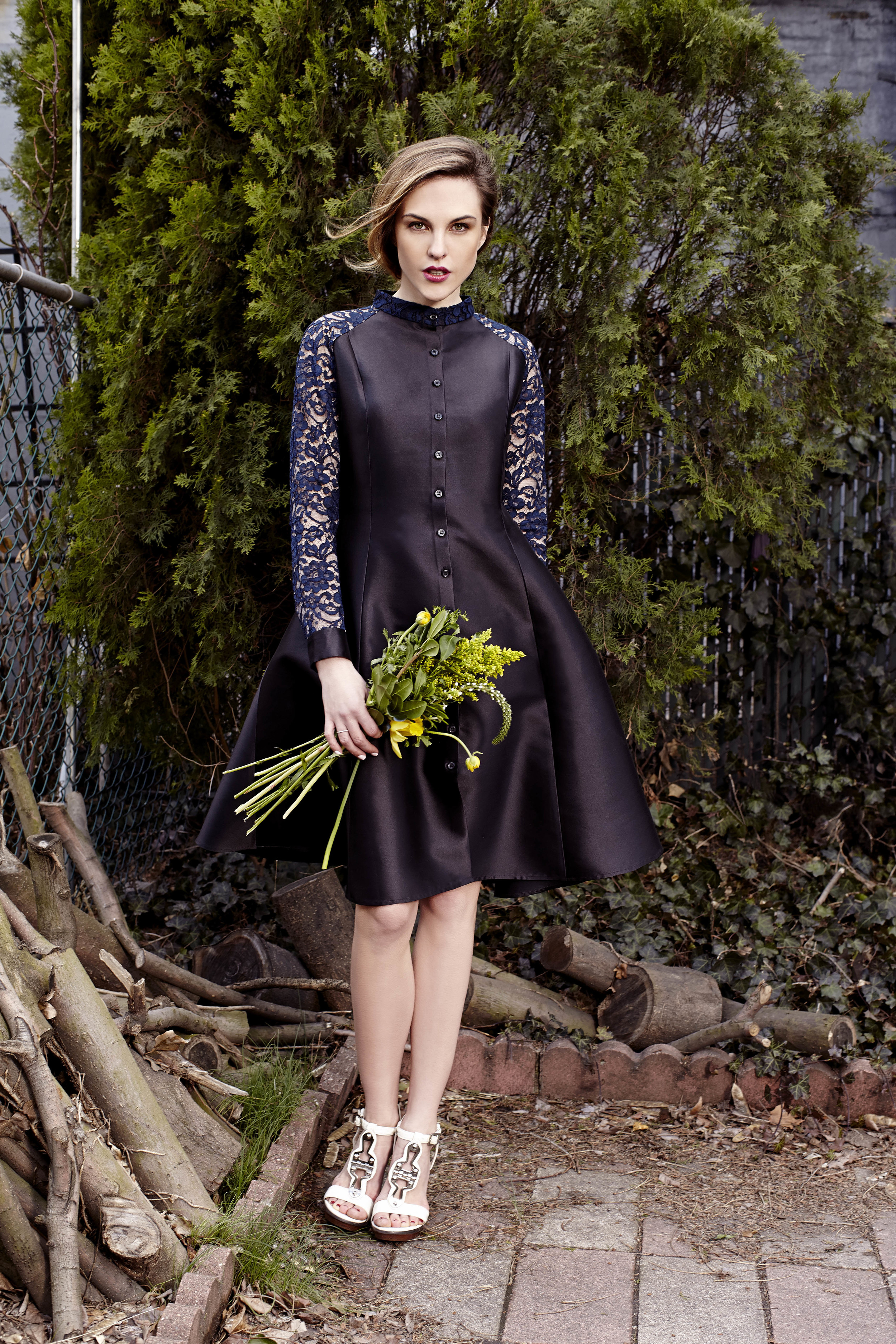 Dhalia in black with navy lace, Bridal Collection