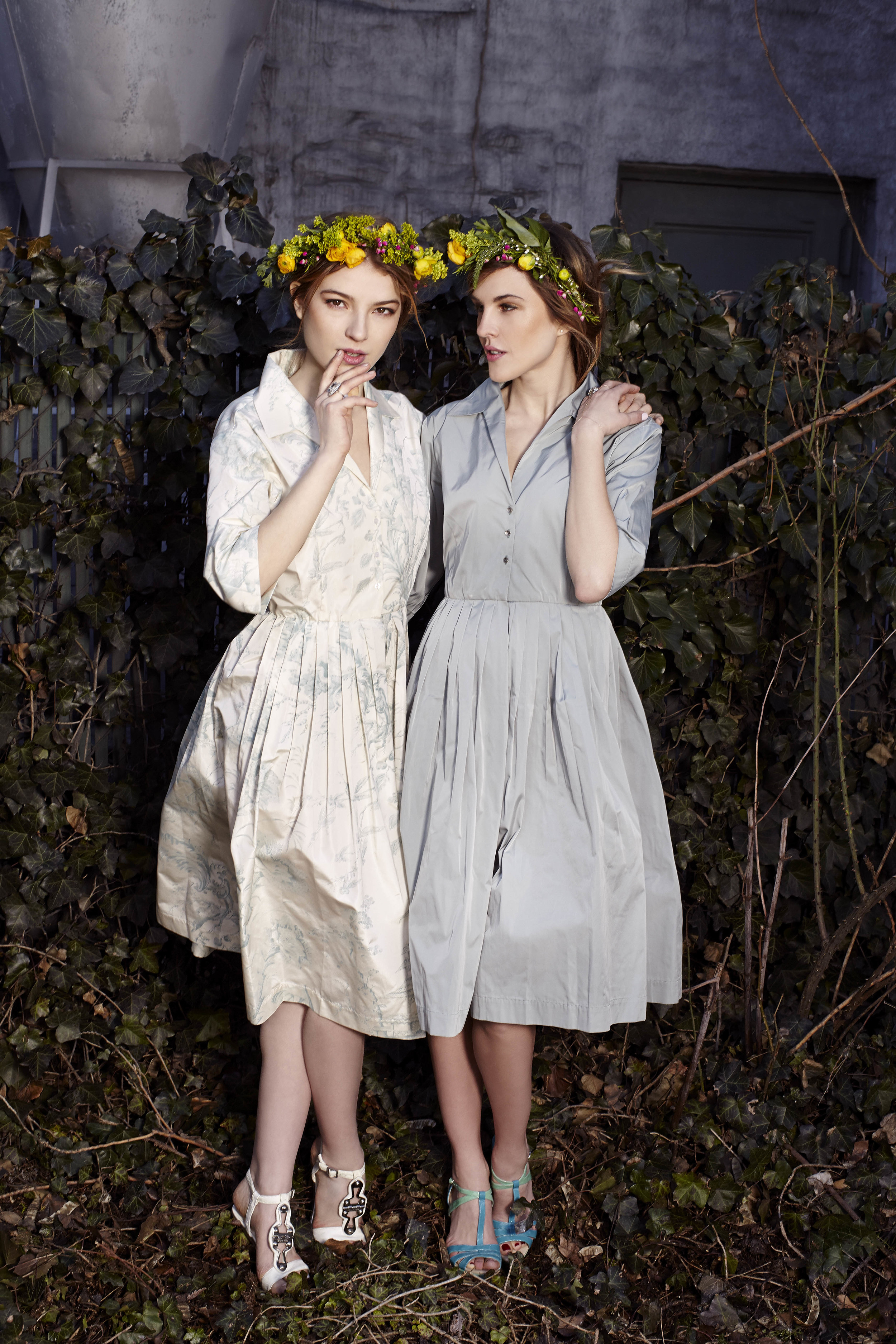 Silk taffeta pleated demi gowns, both Bridal Collection