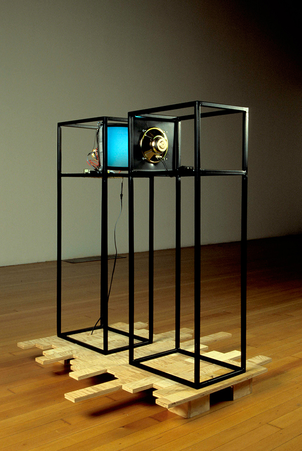 Althea, 2002, Monitor, speaker, powder-coated steel, wood, electronic components, 50 x 42 x 14 inches