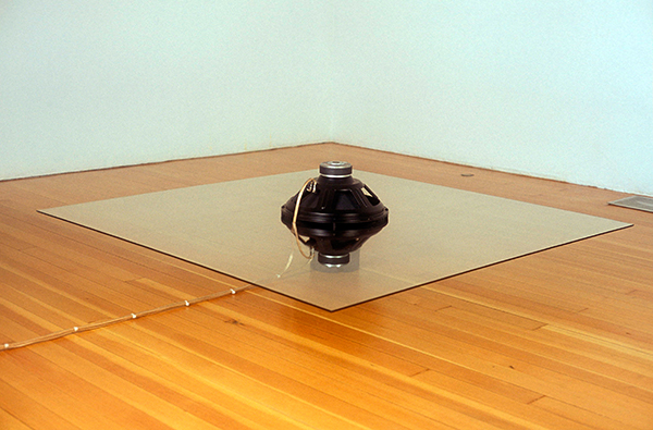 Fantastic Gratifications of Being Cured All Right, 2004, Subwoofers, glass, wood, electronic components, 15 x 60 x 60 inches