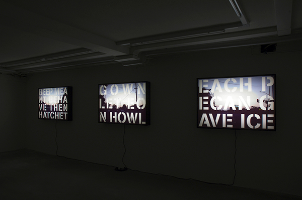 Westbound Series (3 of 6 installed), 2007, Archival ink on mylar, acrylic, lightbox, 34 x 50 x 6 inches each