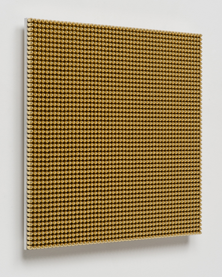 136.36 Seconds, 2014, Gold anodized 115 grain 9mm lead bullets, aluminum, 17 3/4 x 17 3/4 x 7/8 inches