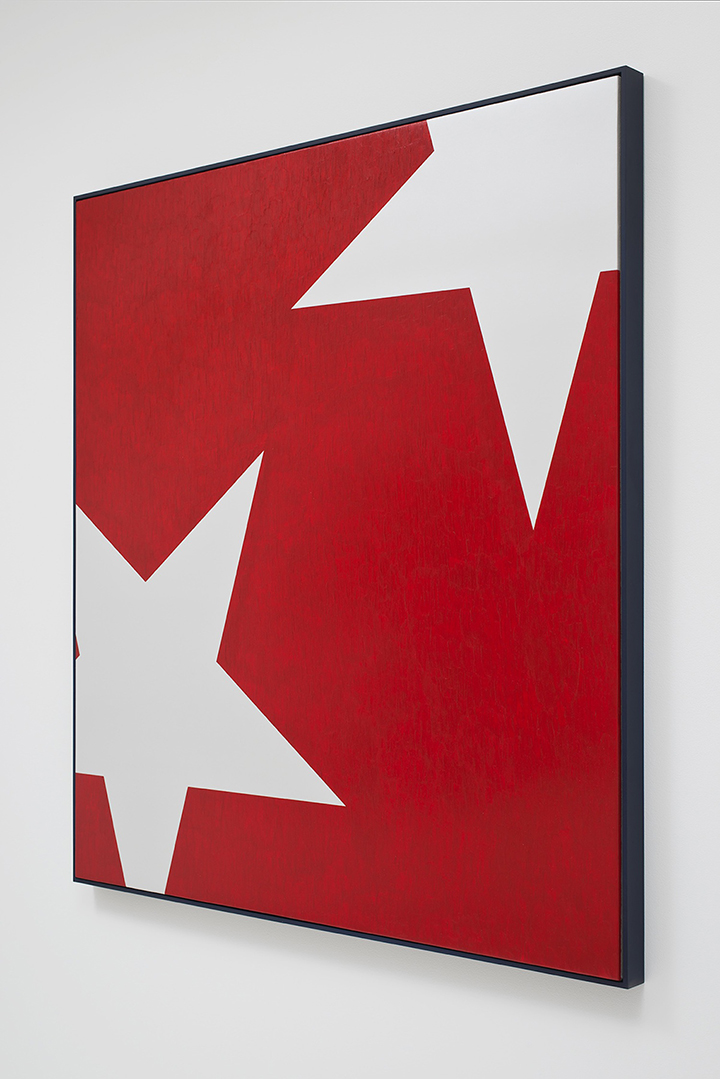 Falling Stars (Silver on Red with Blue), 2015, Acrylic on canvas on wood panel with wood frame, 60 x 55 inches
