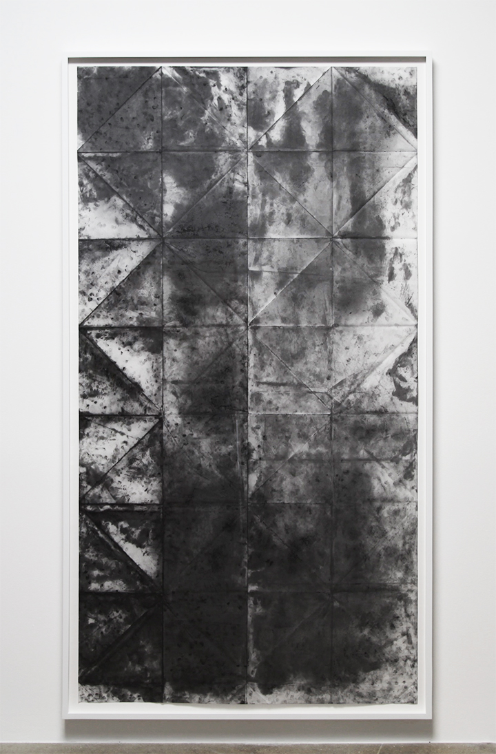 Unfolded; or If I Could Take it Back I Would, 2015, 82.75 x 45.5 inches, Finger-print graphite on vellum, 82.75 x 45.5 inches