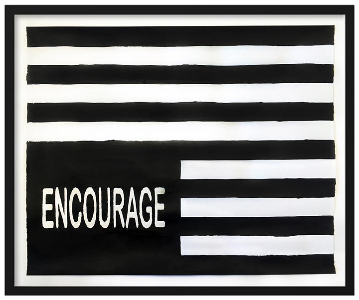 By Any Means Necessary (Flag - Encourage), 2018, Acrylic and graphite on paper, 18 x 22.25 inches