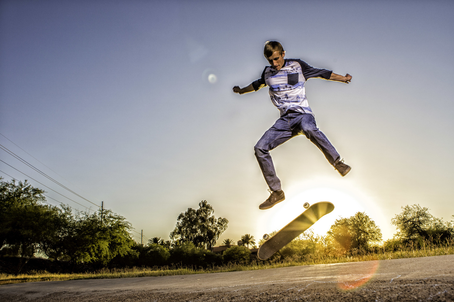 I like how the sun rays came through right behind the skate board. It's amazing how bringing a prop cancompletely change the personality of the person and energy of the session. Deven was so pumped for this imageand couldn't wait to show them to his skater buddies.