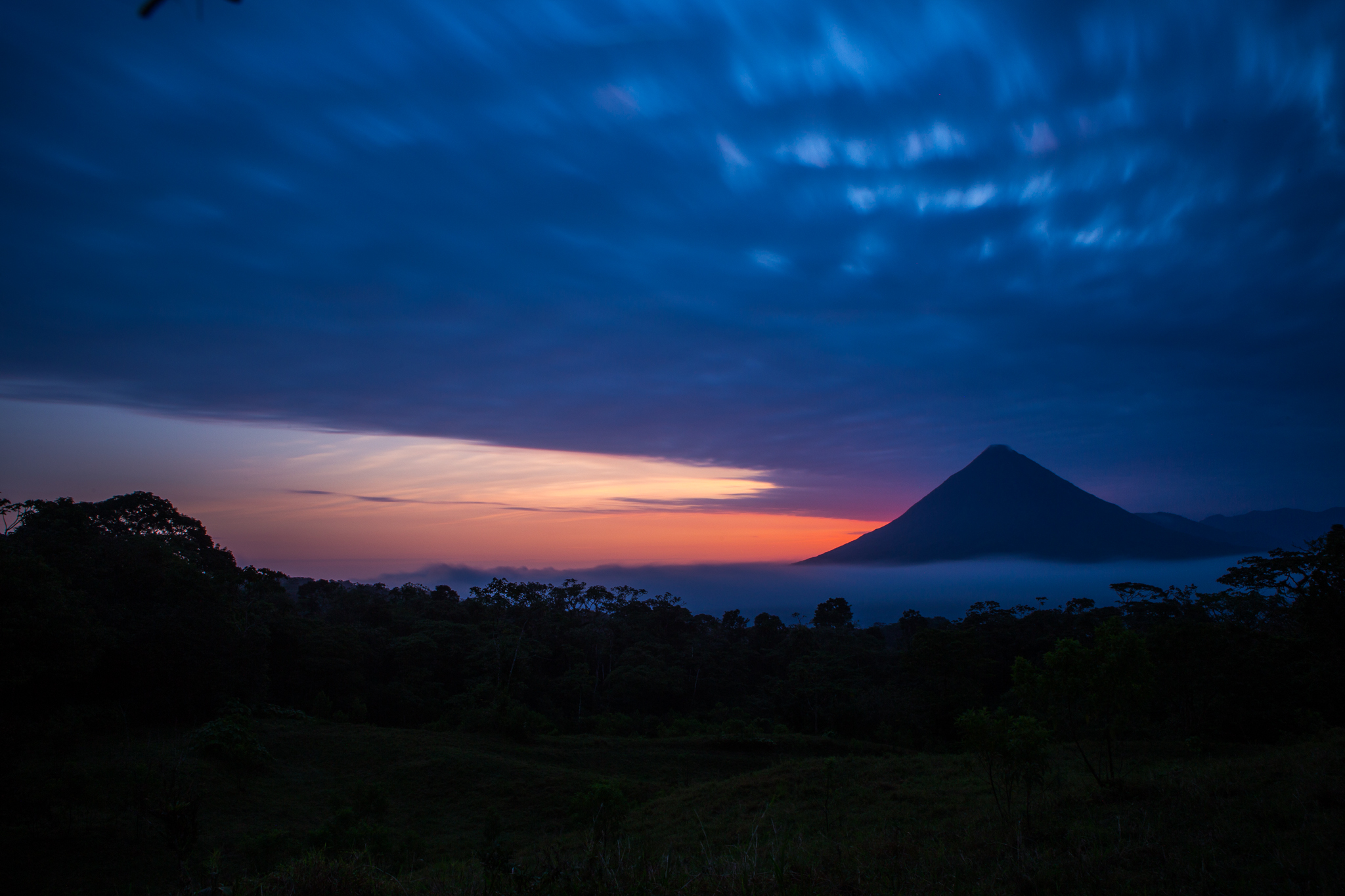 Another long exposure image, you can see the movement in the clouds. I liked the fog at the base of the volcano as well.