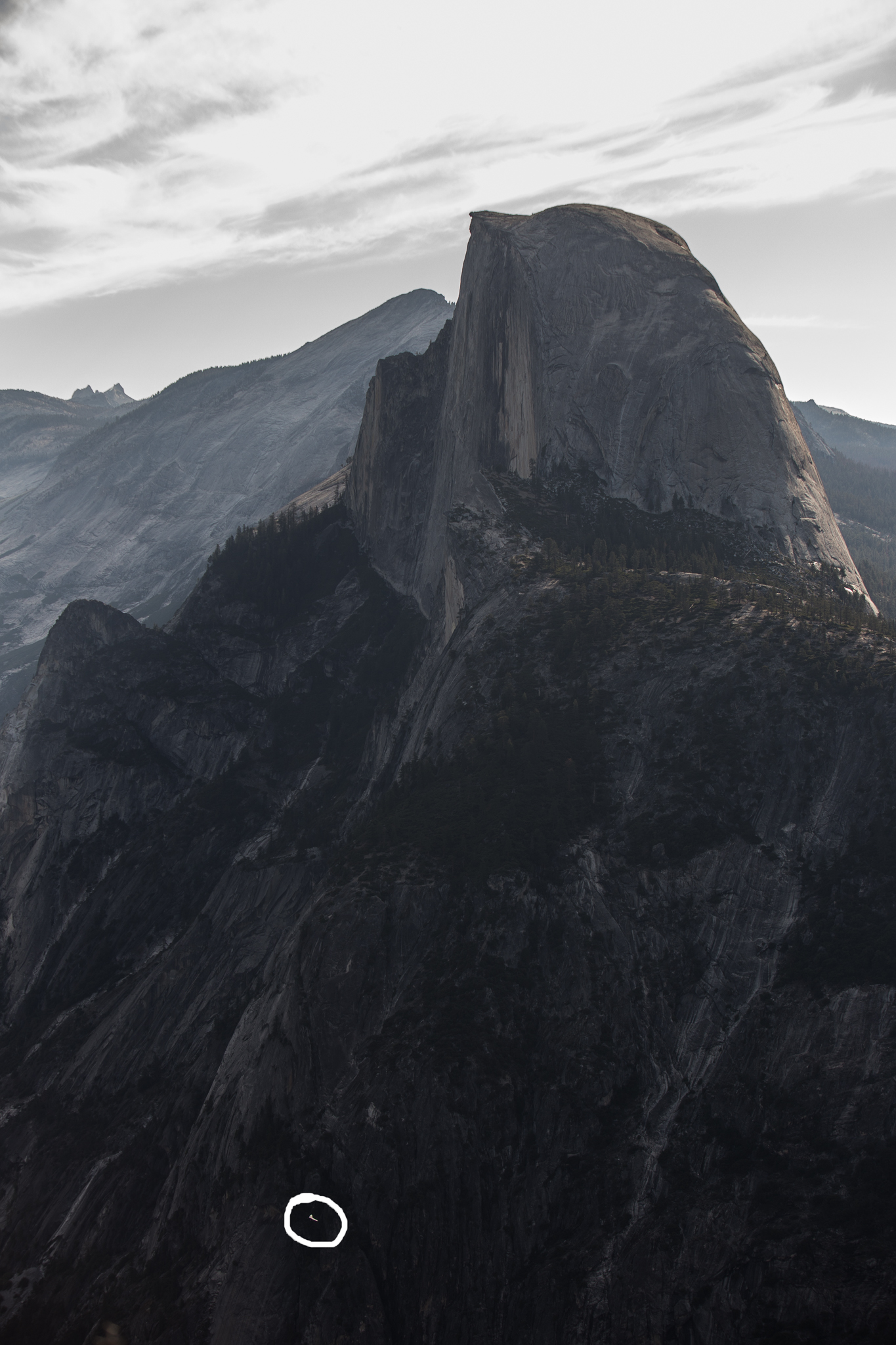 Here I circled the hang glider next to Half Dome.Talk about perspective!