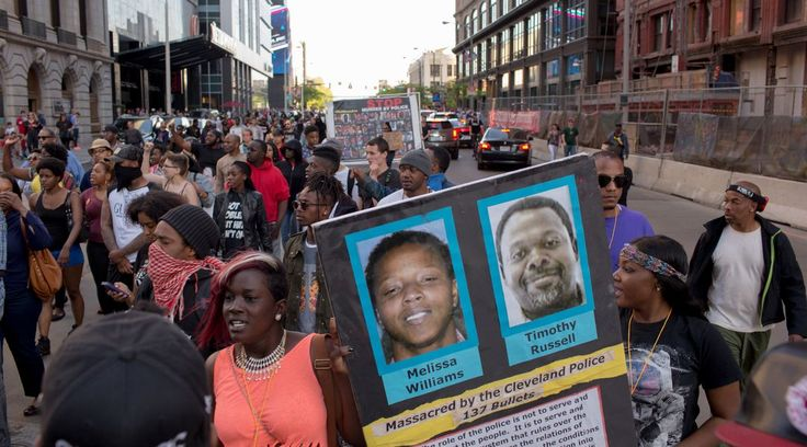 A protest in Cleveland, Ohio, after police officer Michael Brelo was acquitted for the shooting deaths of Timothy Russell and Malissa Williams.|Ricky Rhodes, Getty Images