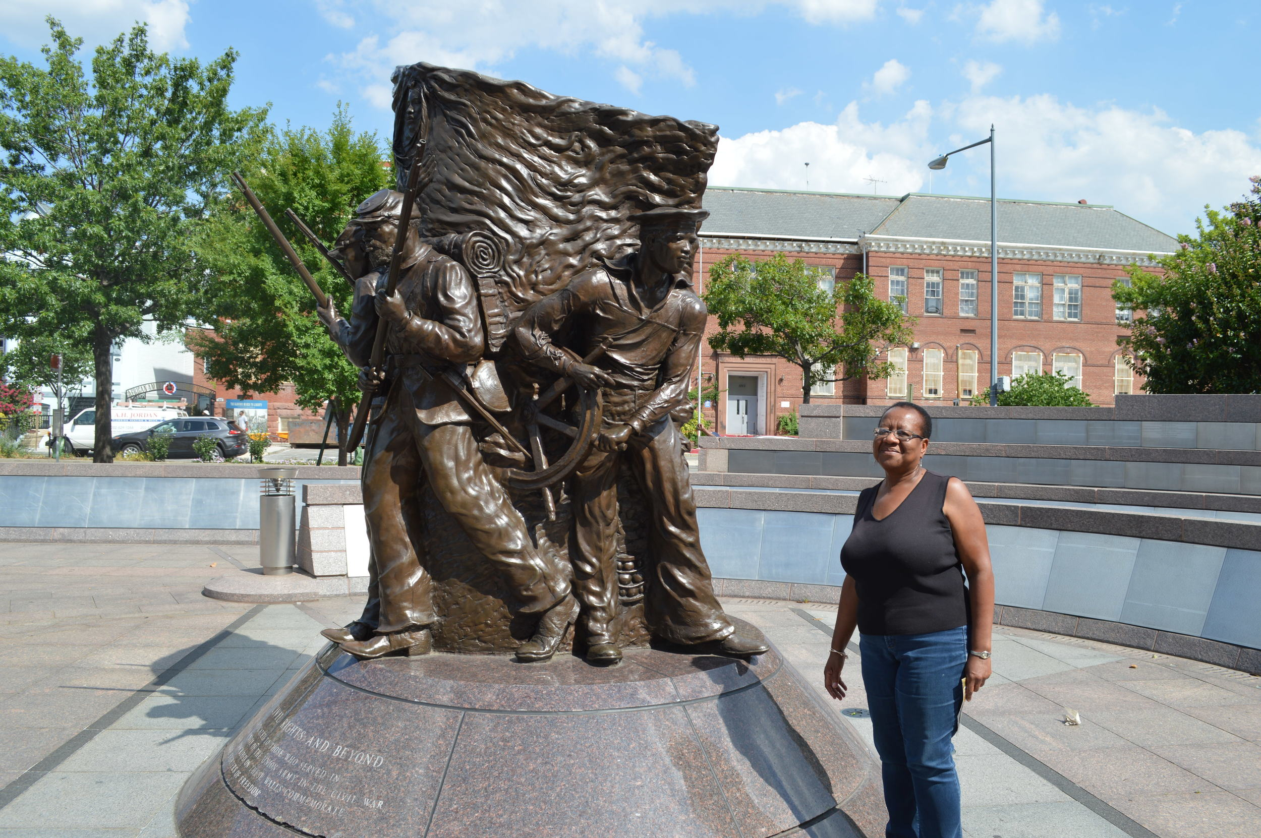 Enid Lee at the African American Civil War Memorial, following a visit to the African American Civil War Museum.