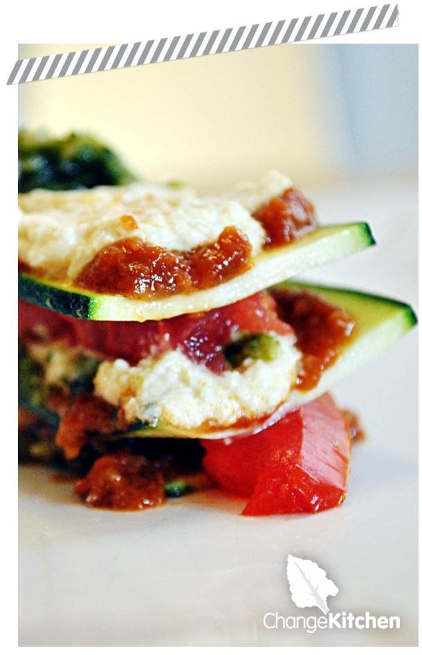 ChangeKitchen : Courgette, Flame Roasted Tomato & Red Pepper Vegan Lasagne