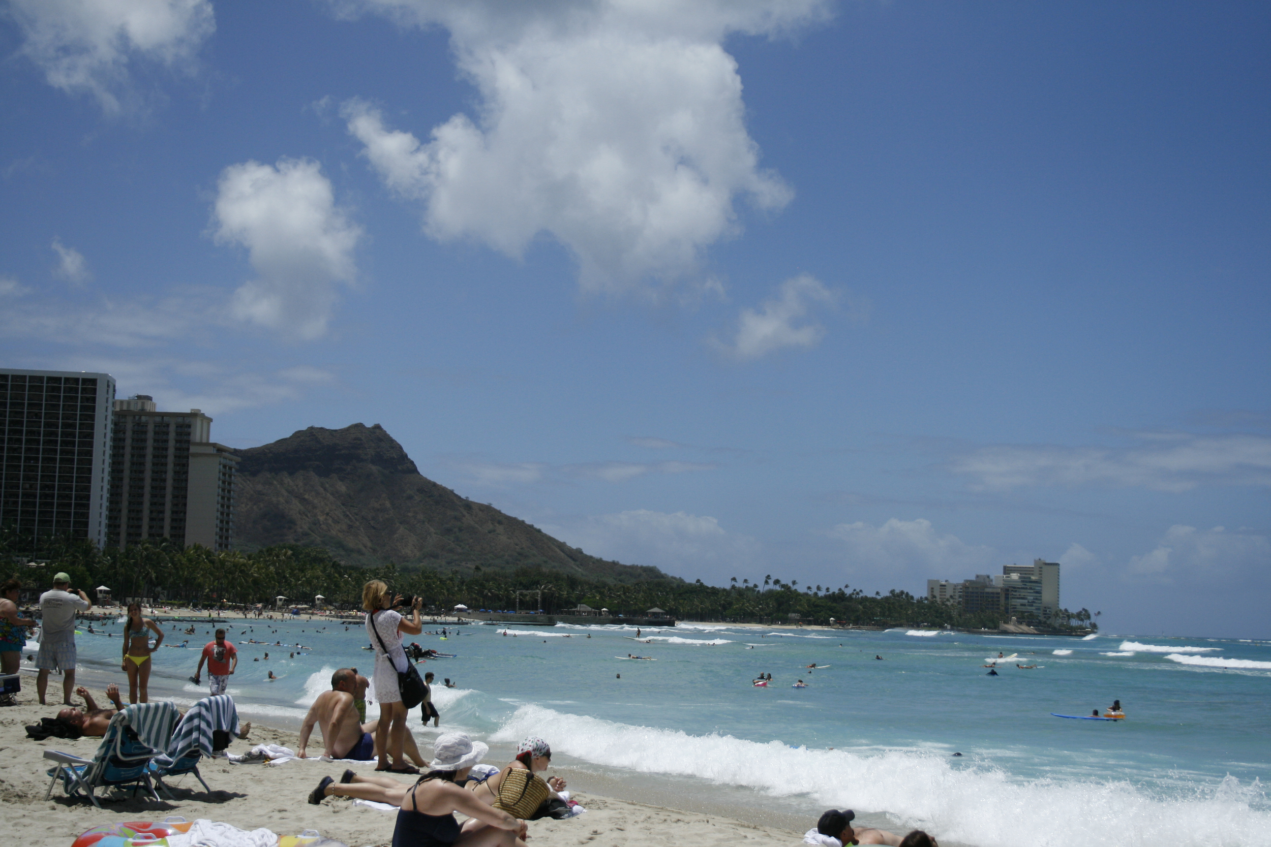 The view of Diamond Head from the beach.