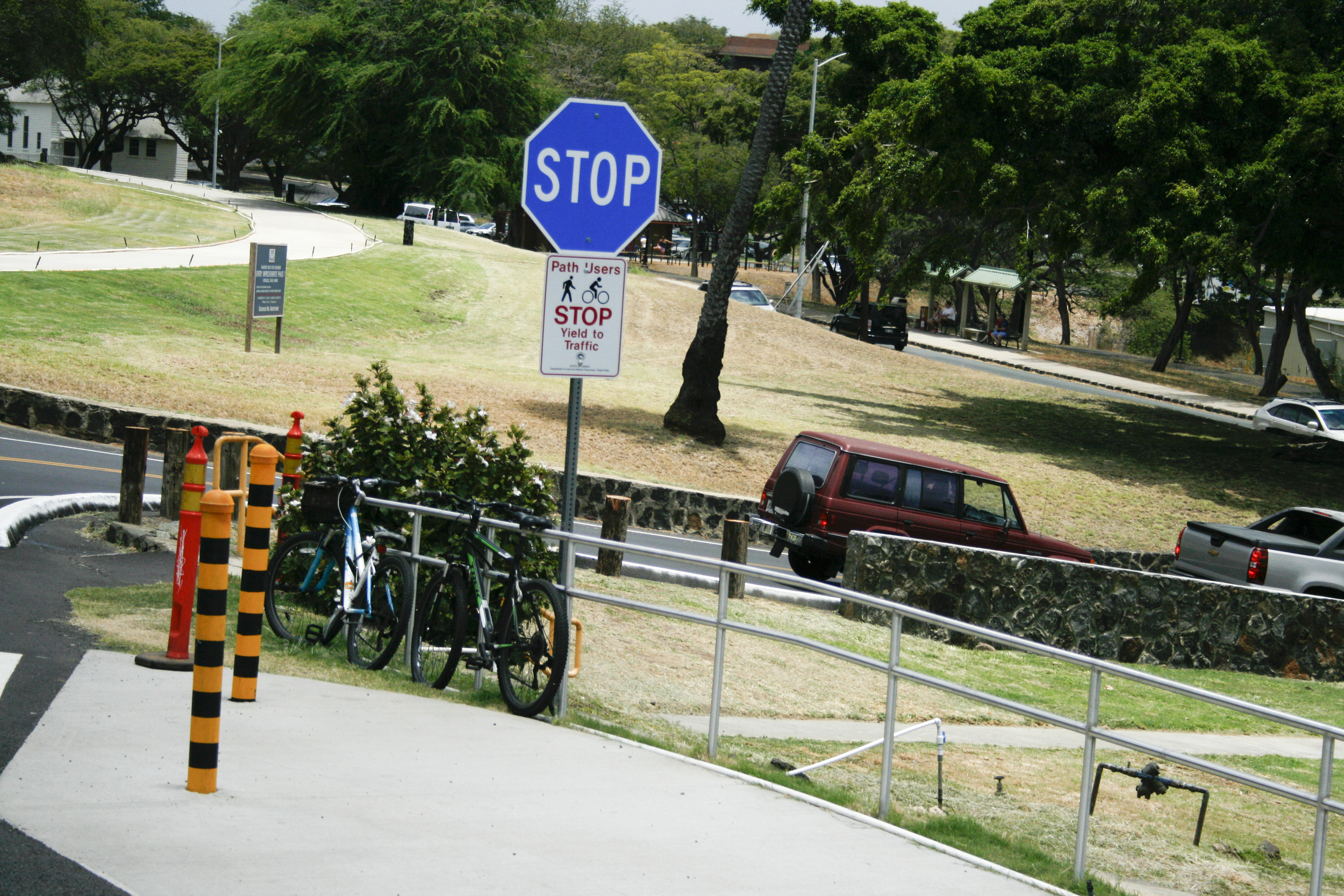 Go home stop sign, you're drunk. Standard Hawaiian stop signs are red but on some private properties they're blue!?