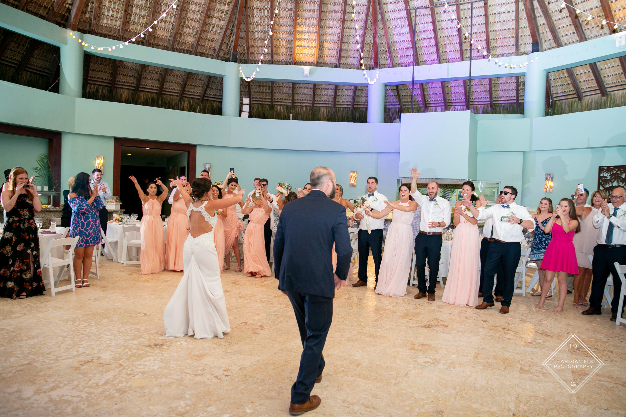 NOW Larimar Destination Wedding; The Bride and Groom grand entrance