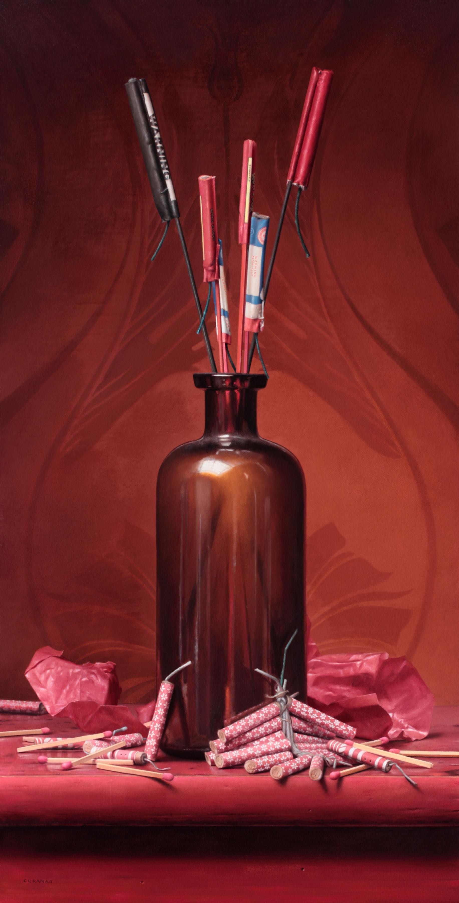 """""""Bottle Rocket Bouquet"""", oil on panel, 16.5x8.5"""""""