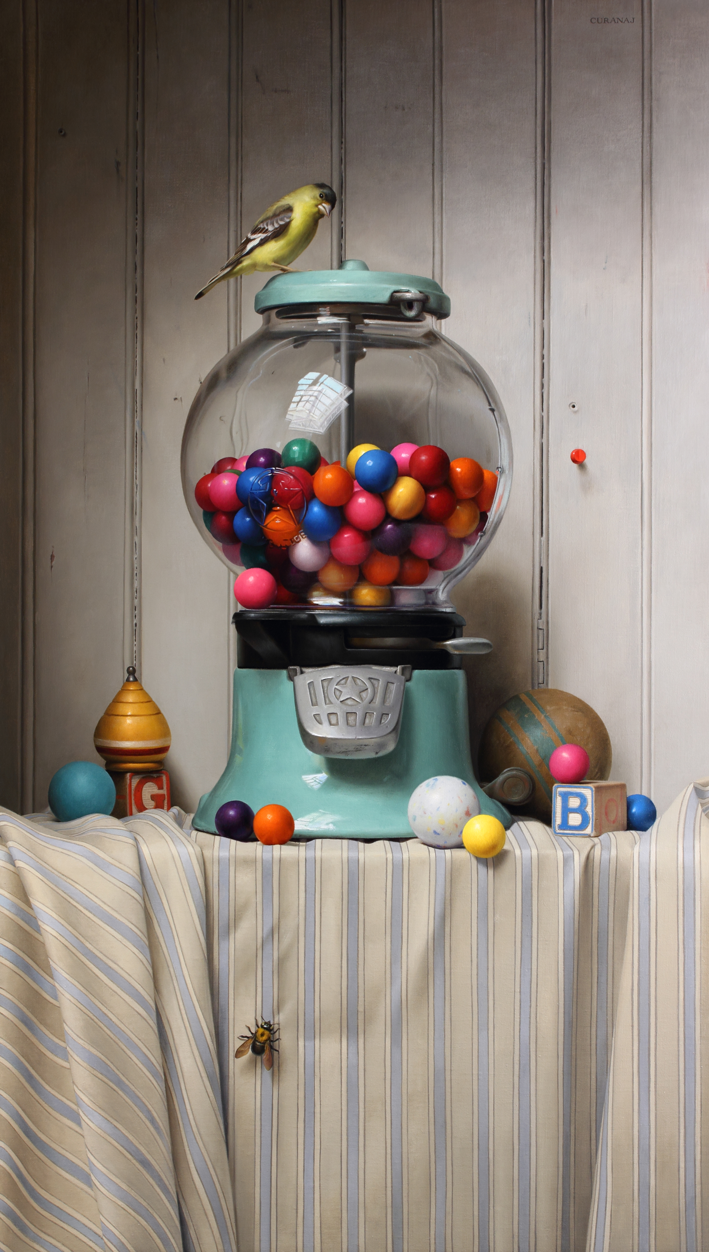 """""""The Gumball incident"""" oil on canvas, 2015  28 x 15 inches"""