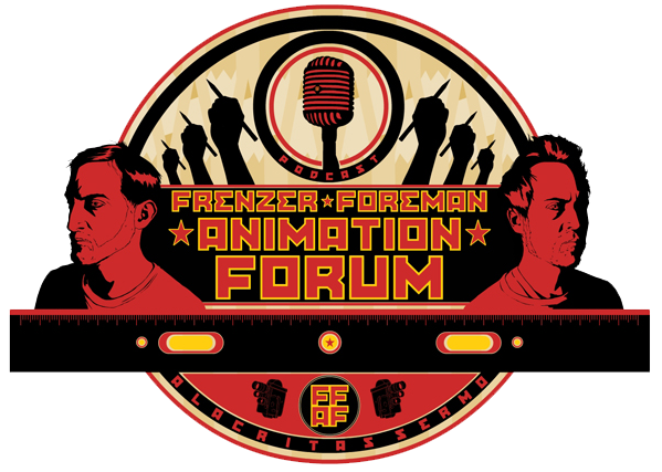 """The Frenzer Foreman Animation Forum is the only comedy podcast about animation featuring Joel Frenzer and Alan Foreman. With nearly six combined decades of animation experience, including:directing, writing, designing, acting, producing, suffering, under-paid work, sound-design, musical scoring, festival going, cel-painter's elbow, digital fatigue, and teaching in and around and all over the international and local animation industry, college, and fine-arts world, Frenzer and Foreman deliver their unique know-how to you each month through in-depth interviews with world animation leaders, tips and technical animation advice, surprise """"radio games"""", personal tales of tragedy/triumph,extraneous adjectives, and hyperbolic run-on prose."""