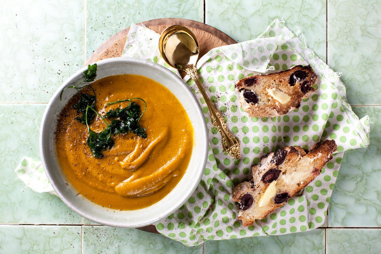 Pumpkin & Walnut Soup. Recipe and styling by  Cle-ann , photo by   Hugh Adams .