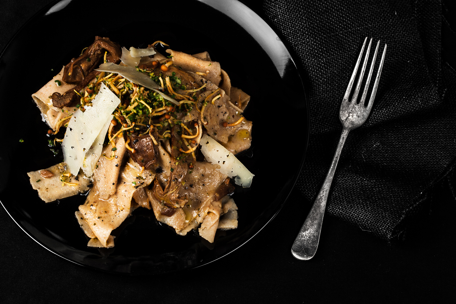 Chestnut Pappardelle w Enoki Gremolata. Recipe and styling by  Cle-ann  , photo by  Hugh Adams  .