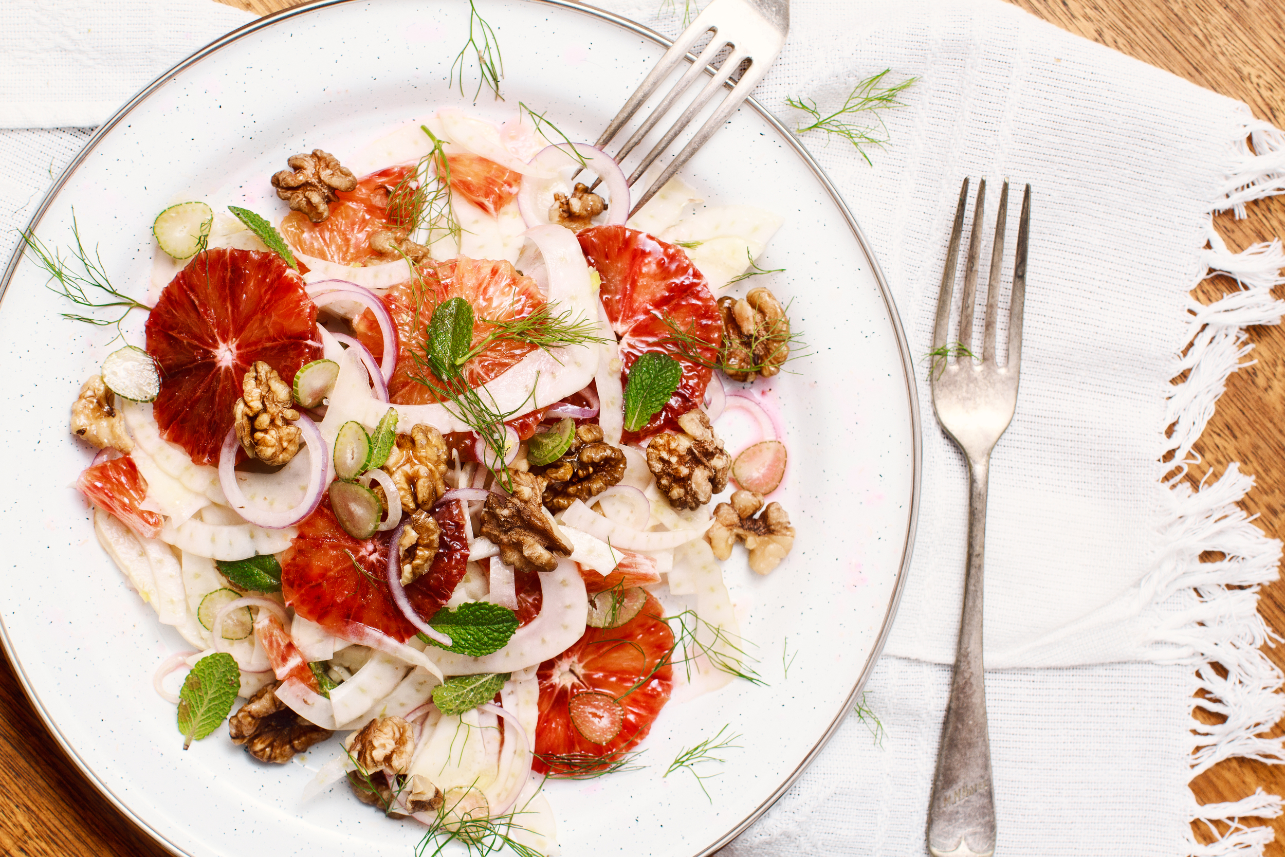 Fennel and Blood Orange Salad. Recipe appeared originally in  Yum. Gluten Free Magazine  Oct Issue.  Recipe and styling by   Cle-ann  , photo by   Hugh Adams  .