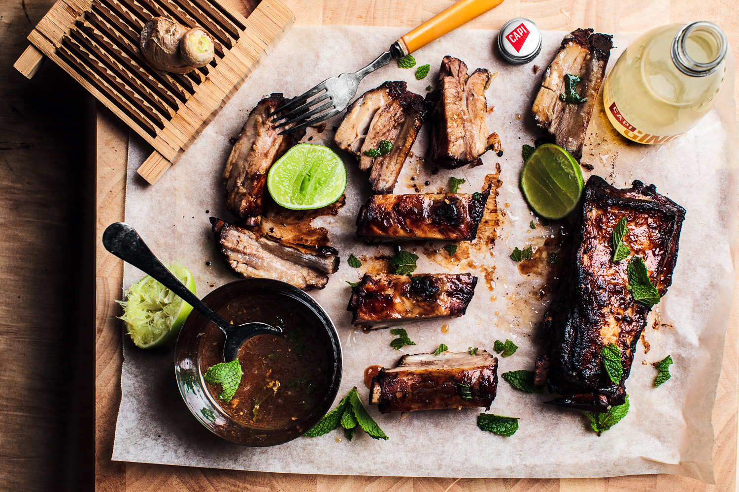 Twice-Cooked Ginger Pork Spare Ribs.    CAPI  Ginger Beer.  Recipe and styling by  Cle-ann  , photo by  Hugh Adams  .