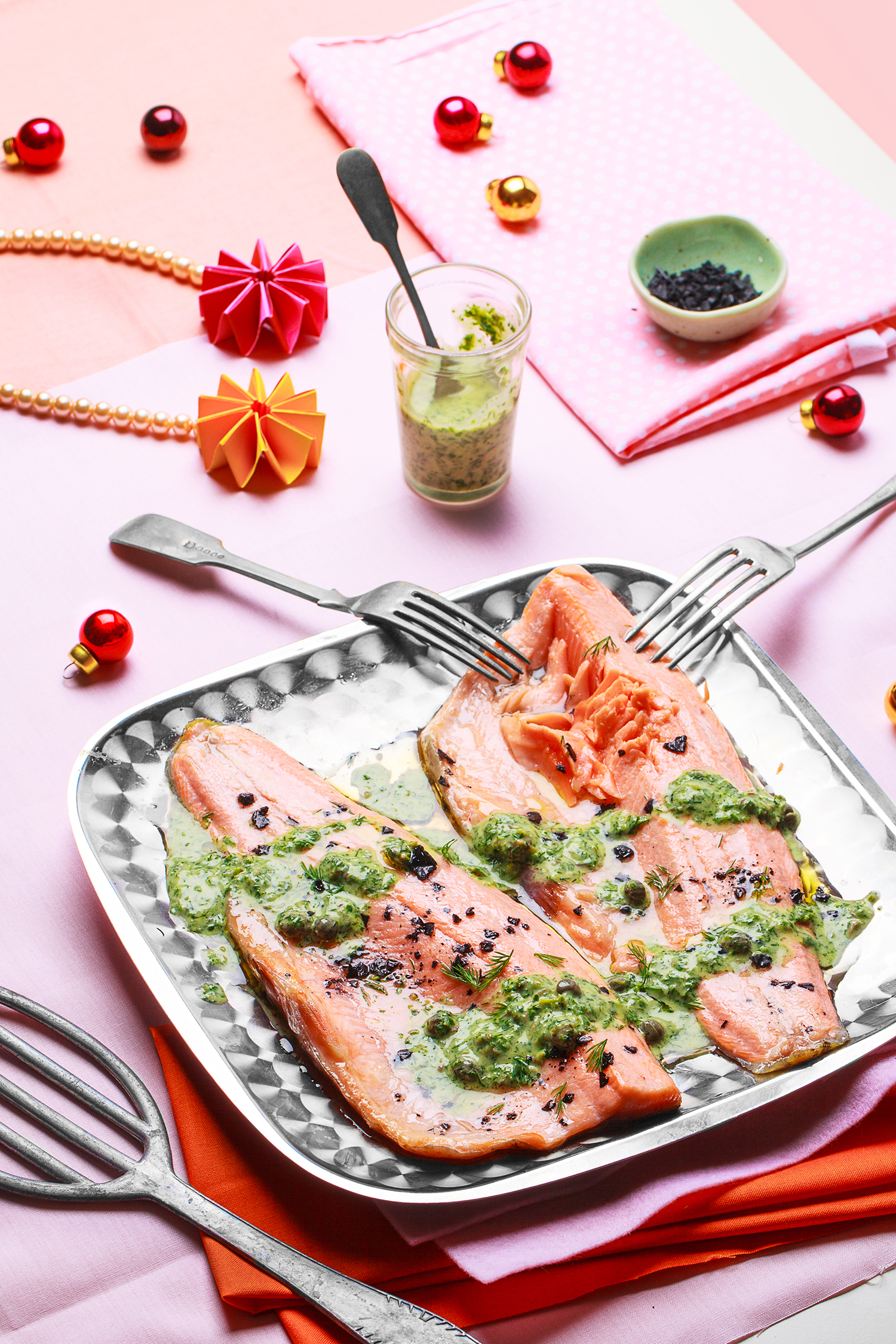 Grilled Rainbow Trout with Watercress, Caper Dressing ,   appeared originally in   Yum. Gluten Free Magazine   Dec Issue.   Recipe and styling by   Cle-ann  , photo by   Hugh Adams  .