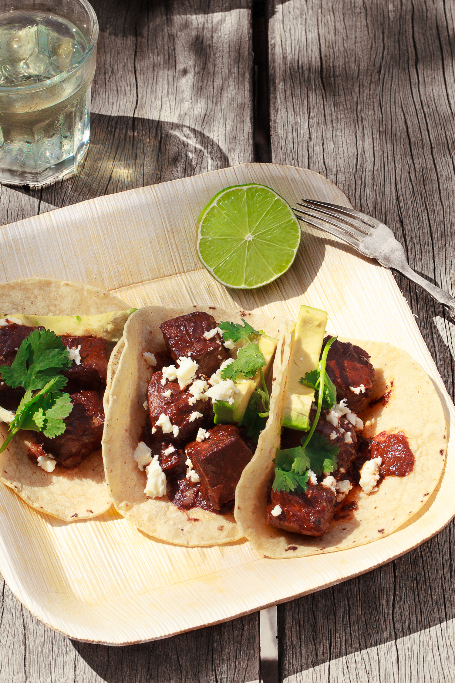 Speedy Mole Beef Tacos. Bio-plate from  Chef's Hat . Recipe and styling by   Cle-ann  , photo by   Hugh Adams  .
