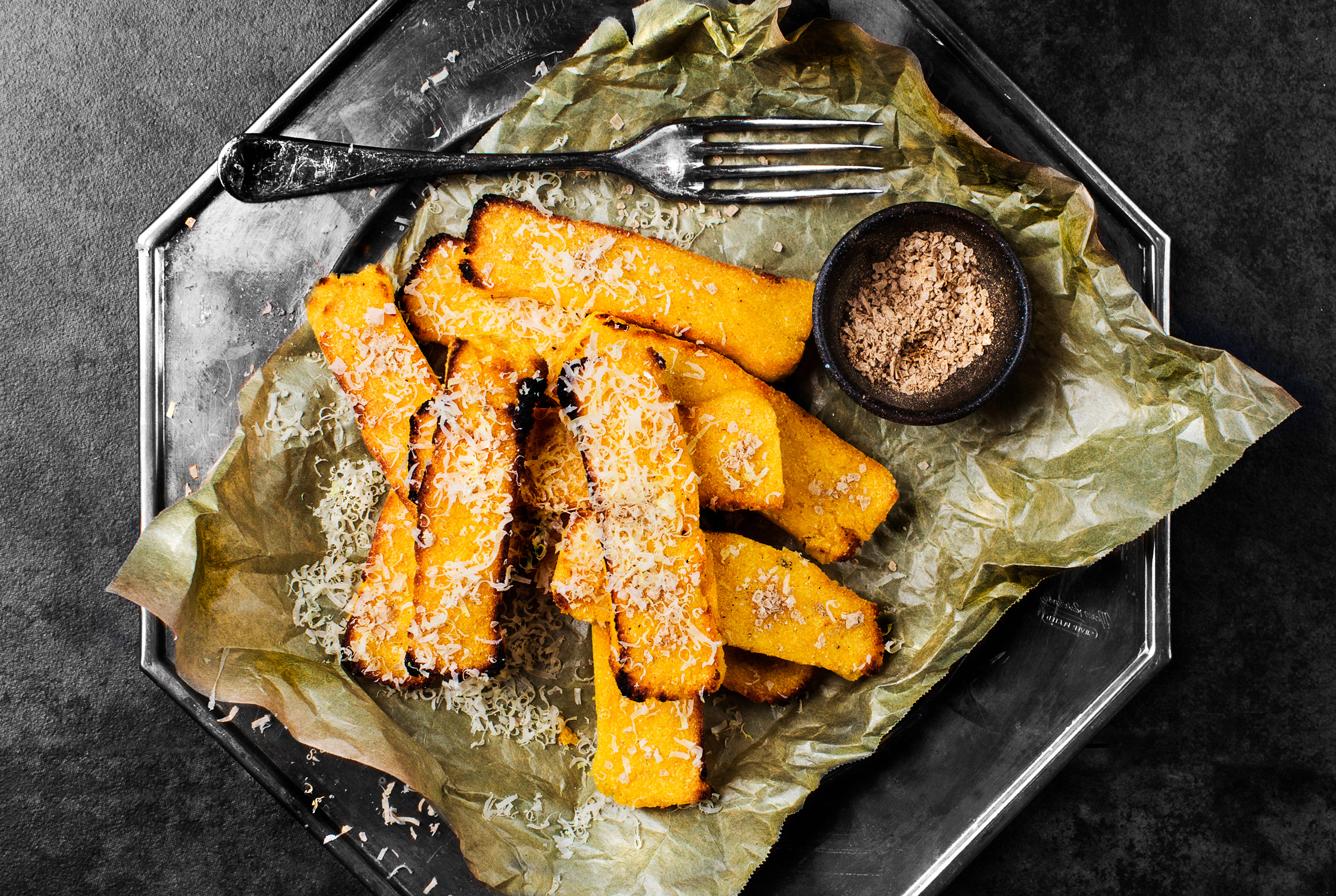 Polenta Buckwheat Chips w Porcini Salt.   Recipe and styling by   Cle-ann  , photo by   Hugh Adams  .