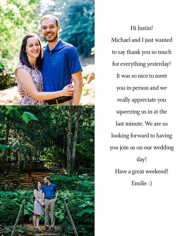 Just got this email from @emilie_hedou.  They drove from FL, graduated with her Masters Degree, engagement session the next morning, back to Tampa so Mike could be at work at 5 am the next day!  Creating an experience that last beyond the wedding day!