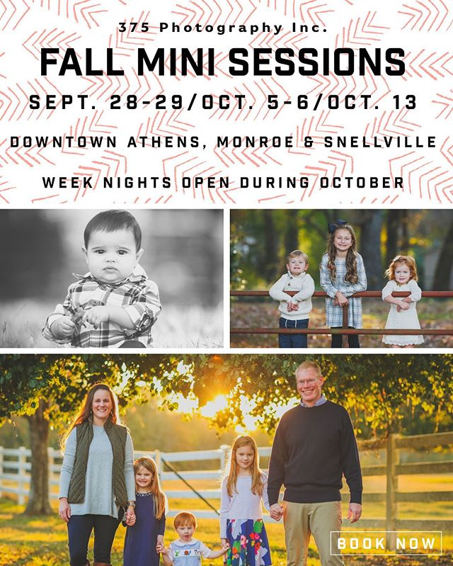It's our favorite time of year! The weather is cooling off and I can't wait to capture your family this fall. $150 - 20 min session - all rights are yours! Book now at justin@375photography.com