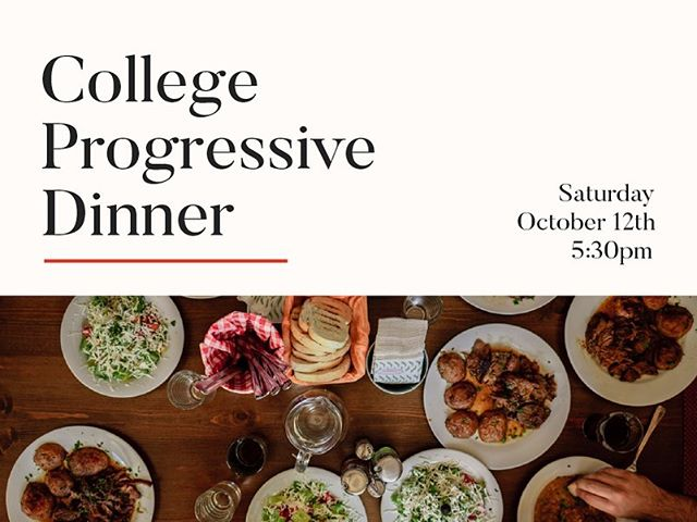 ***please note updated time! Calling ALL college students‼️ Because the ladies progressive dinner was such a hit, we wanted to make it COED this year! Come out on October 12th to make friends, connect with people in the church & feast together! We will be meeting at Redeemer @ 5:30pm, then carpooling to our first house. Excited to see you there! [Text Jordan Norberg to RSVP for a head count. DM if you need her ###]