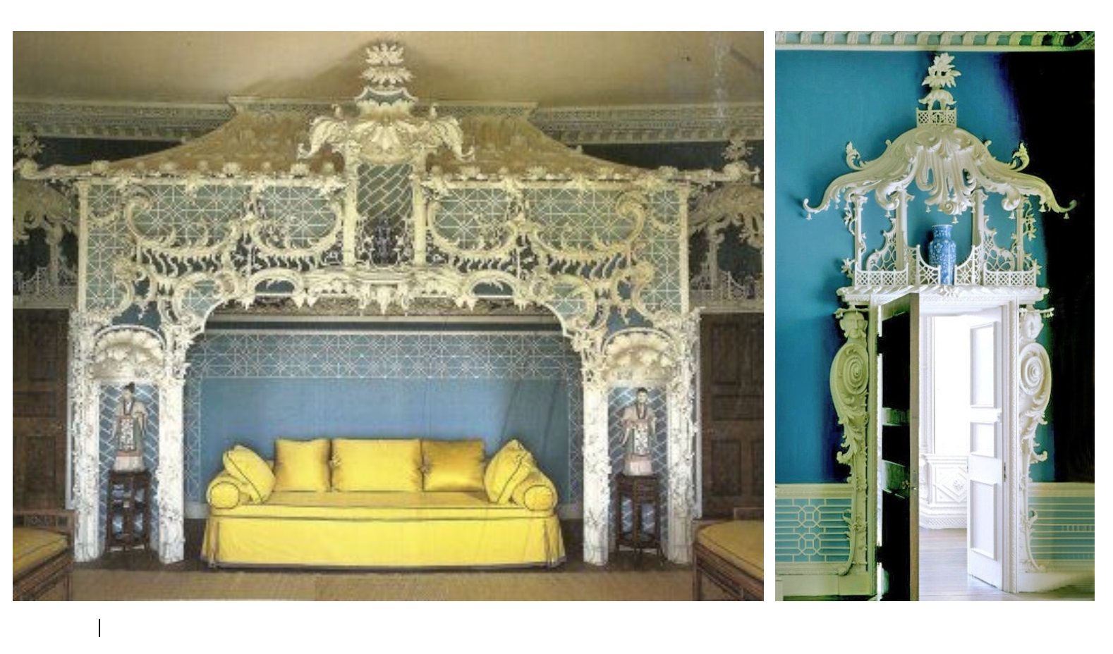 The Chinese Room in Claydon House is the most elaborate Chinoiserie interior surviving in England; designed in 1769 by Luke Lightfoot.