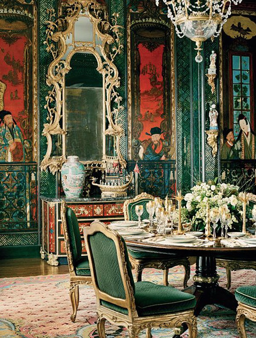 Getty's dining room, showing circa 1720 chinoiserie panels made for the king of Poland. Photo by Lisa Romerein.
