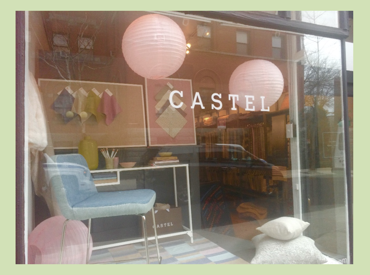 Castel's store front in Cobble Hill, Brooklyn, NY displays its Spring vignette