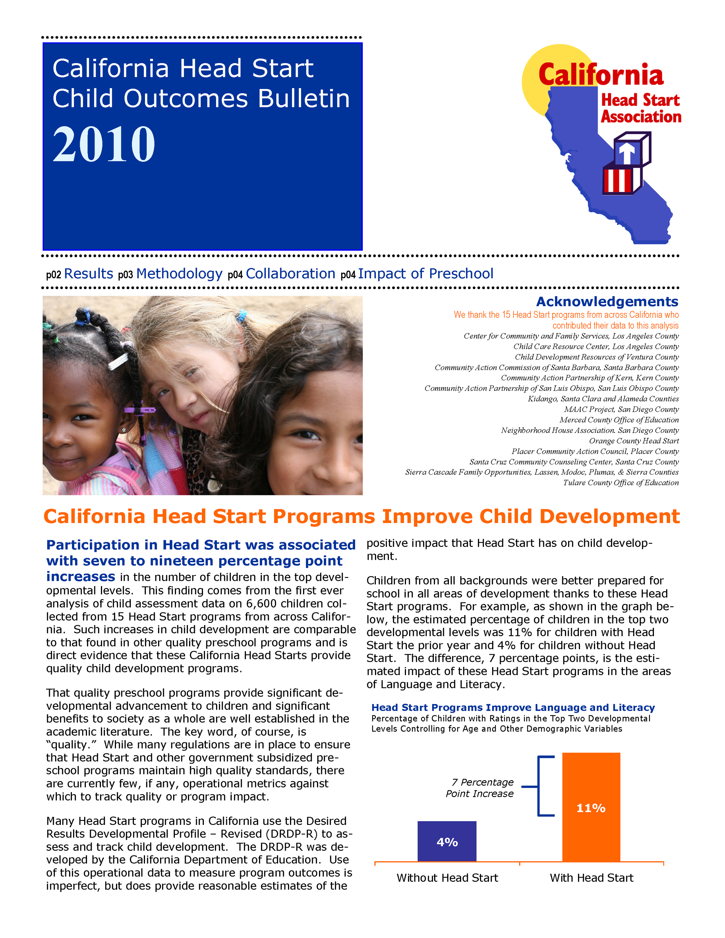 California Head Start Child Outcomes Bulletin 2010
