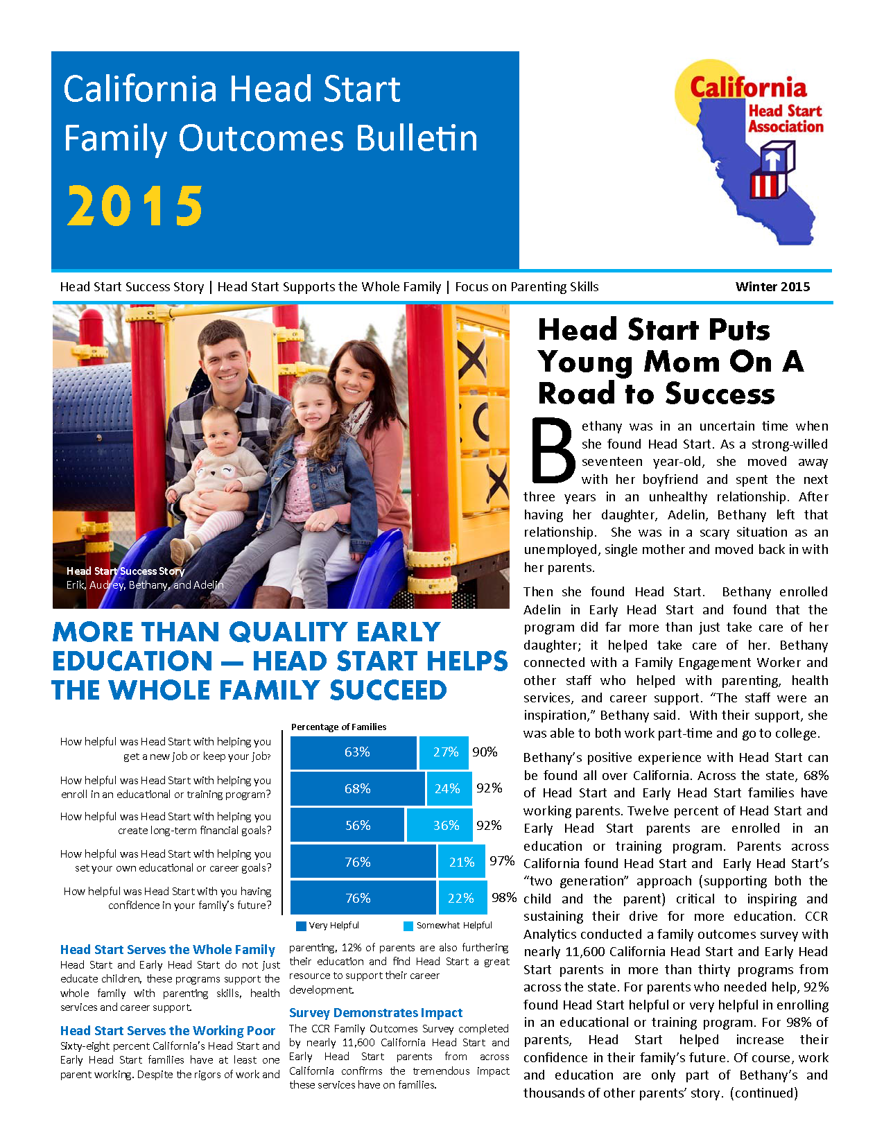 california head start family outcomes bulletin 2015