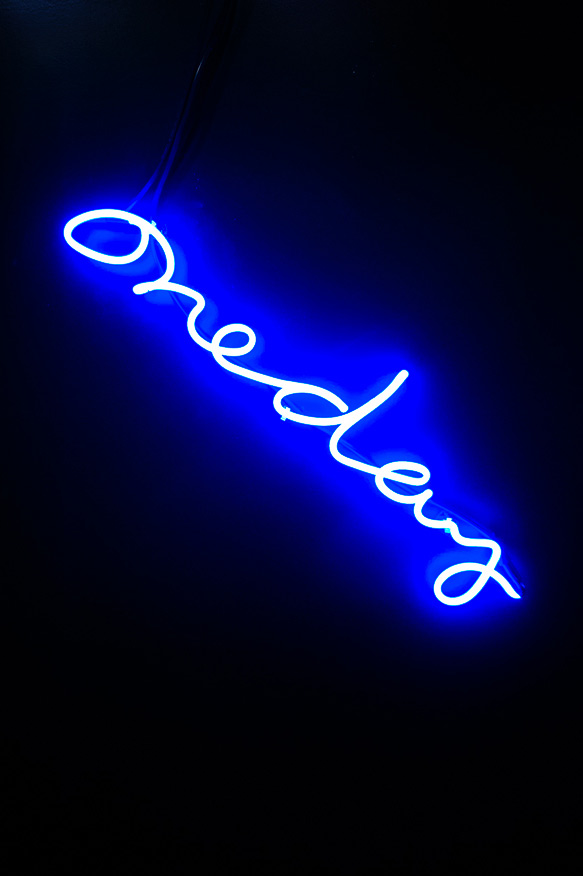 Cole Sternberg   one day  2012 36 inches blue neon glass