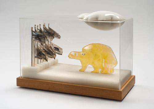 Carl Cheng ,  U.N. of C. , 1967, Film, molded plastic, Styrofoam and Plexiglas, 15″ x 20.75″ x 9″
