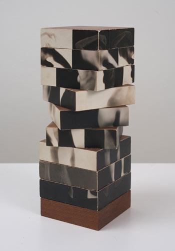 Robert Heinecken ,  Fractured Figure Sections , 1967, Photographs, wood, 8.25″ x 3″ x 3″