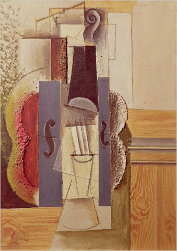 Pablo Picasso,  Guitar , Céret, March 31, 1913, or later.  Cut-and-pasted newspaper, wallpaper, paper, ink, chalk, charcoal, and  pencil on colored paper, 26 1/8 x 19 1/2″
