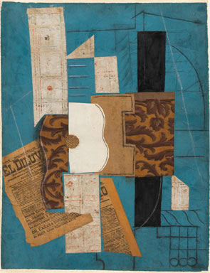Pablo Picasso,  Violin Hanging on the Wall , 1913, Oil, spackle with sand, enamel, and charcoal on canvas.