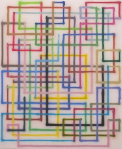 Bernard Frize,  Fabia , 2007, Acrylic on canvas, 86 5/8″ x 70 7/8″