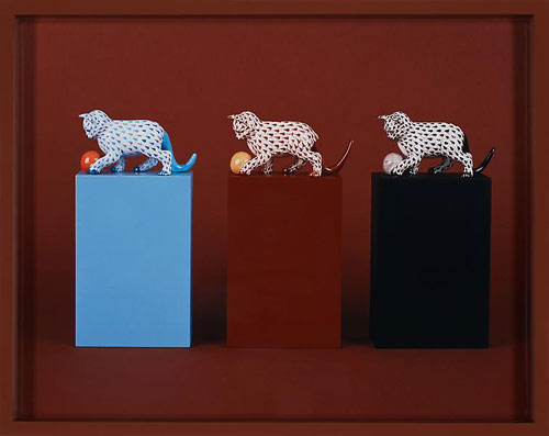 Elad Lassry,  Cats, Balls (Herend) , 2010, C-print with painted frame, 11 1/2 x 14 1/2 x 1 1/2 inches