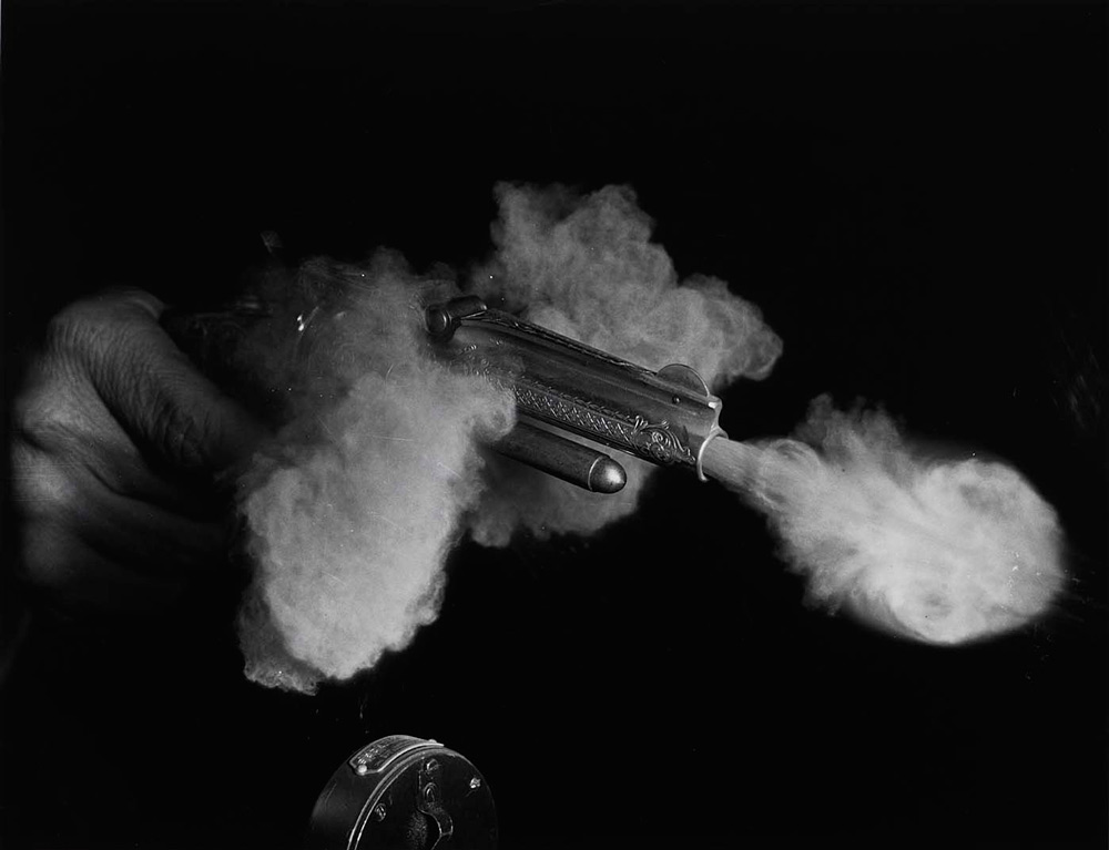 Harold Edgerton   Antique Gun Firing  , 1936   16 x 20 inches (40.65 x 50.8 cm)   gelatin silver print   signed in pencil on the reverse