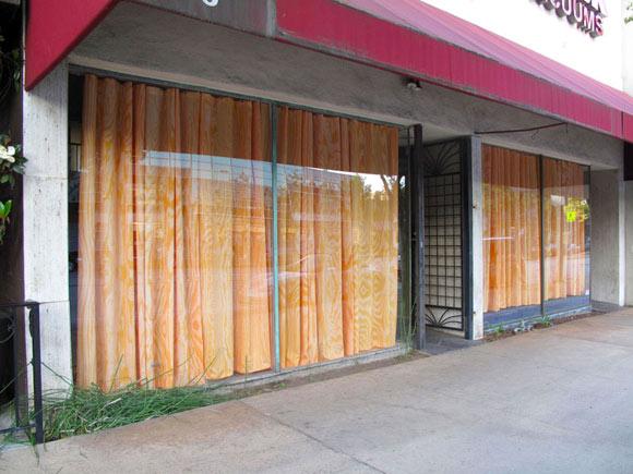 Jennifer Bolande,  Plywood Curtains , 2010, installation view South Lake, Pasadena