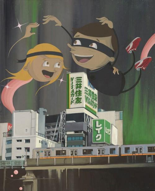 Jellyfish Heaven  (2010), Acrylic on wood panel, 27 x 11″