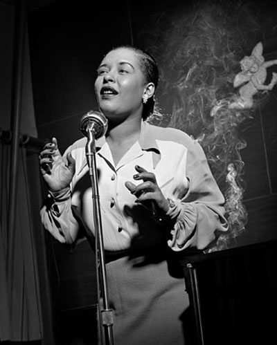 Herman Leonard  Billie Holiday (with Smoke), New York City, 1949   Images from Fahey/Klein Gallery